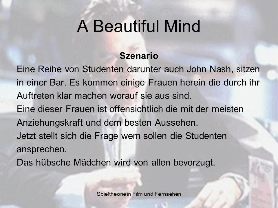 Spieltheorie in Film und Fernsehen A Beautiful Mind Szenario Eine Reihe von Studenten darunter auch John Nash, sitzen in einer Bar. Es kommen einige F