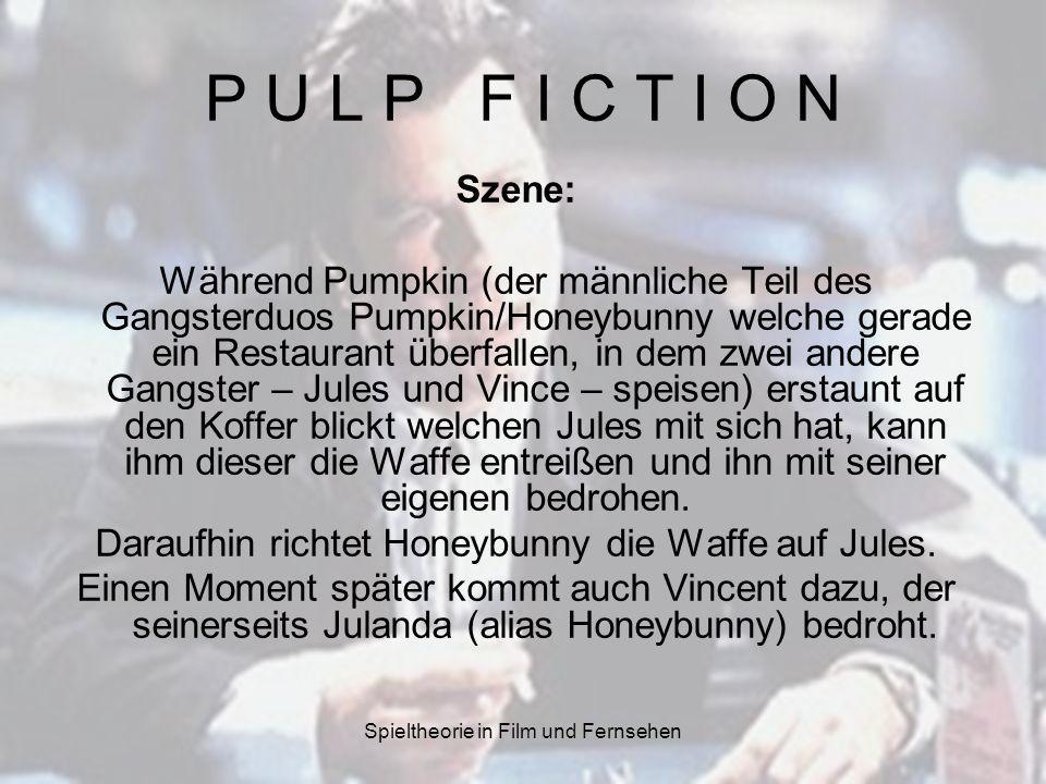 Spieltheorie in Film und Fernsehen P U L P F I C T I O N Szene: Während Pumpkin (der männliche Teil des Gangsterduos Pumpkin/Honeybunny welche gerade