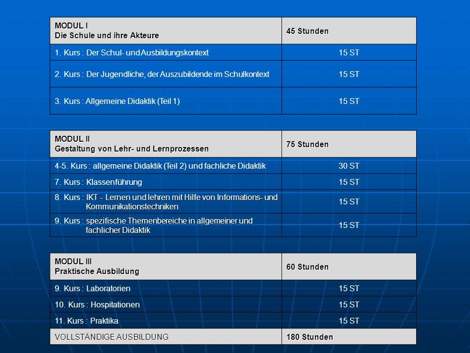 MODUL I Die Schule und ihre Akteure 45 Stunden 1. Kurs : Der Schul- und Ausbildungskontext15 ST 2.