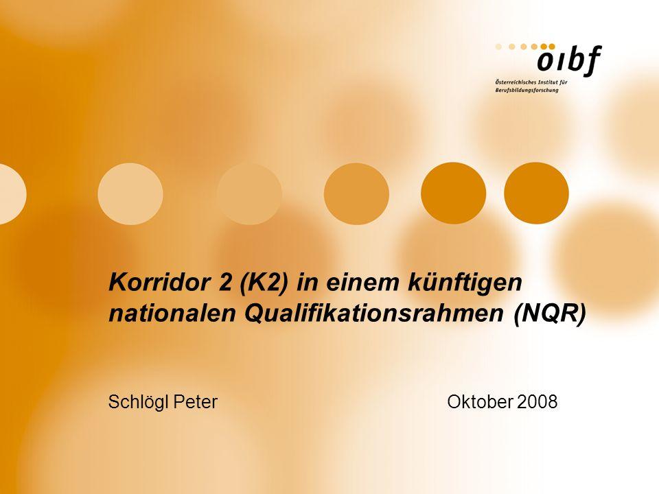 Korridor 2 (K2) in einem künftigen nationalen Qualifikationsrahmen (NQR) Schlögl Peter Oktober 2008