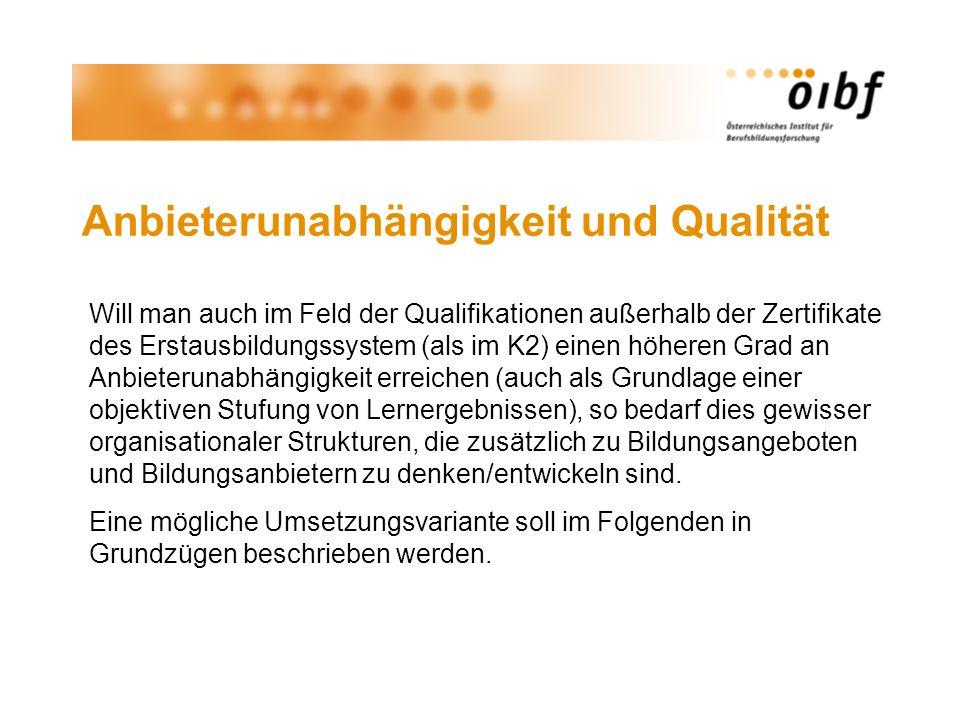 Anbieterunabhängigkeit und Qualität Will man auch im Feld der Qualifikationen außerhalb der Zertifikate des Erstausbildungssystem (als im K2) einen hö