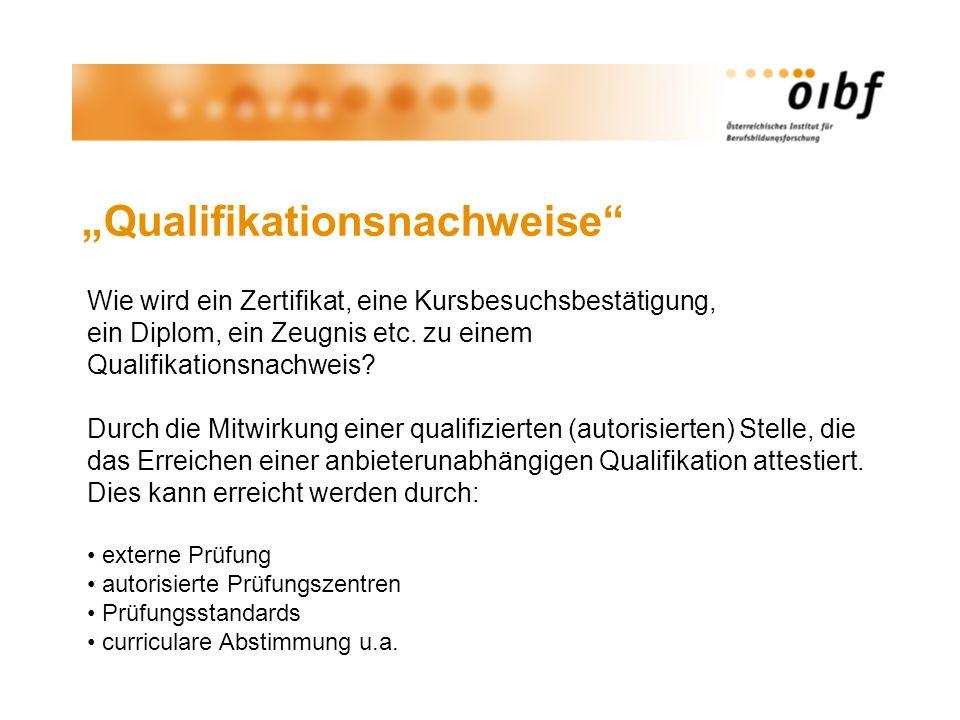 Qualifikationsnachweise Wie wird ein Zertifikat, eine Kursbesuchsbestätigung, ein Diplom, ein Zeugnis etc. zu einem Qualifikationsnachweis? Durch die