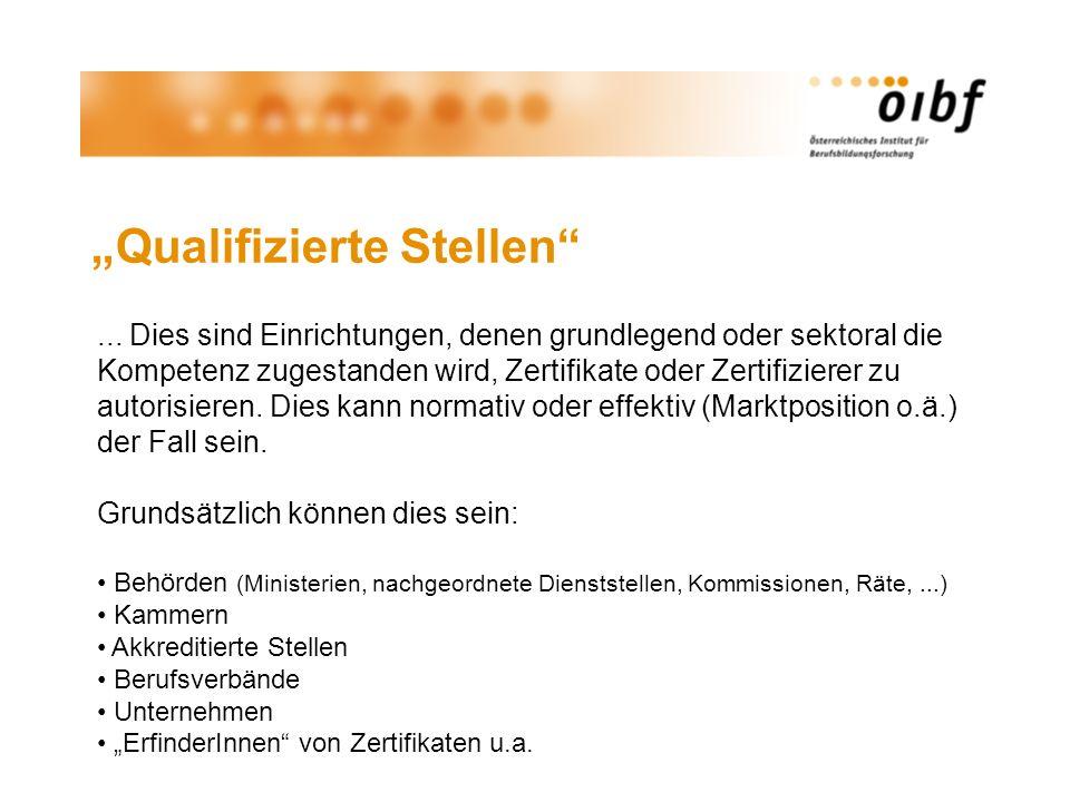Qualifizierte Stellen... Dies sind Einrichtungen, denen grundlegend oder sektoral die Kompetenz zugestanden wird, Zertifikate oder Zertifizierer zu au