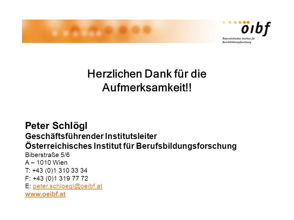 Herzlichen Dank für die Aufmerksamkeit!! Peter Schlögl Geschäftsführender Institutsleiter Österreichisches Institut für Berufsbildungsforschung Bibers