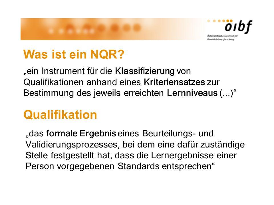 Was ist ein NQR? ein Instrument für die Klassifizierung von Qualifikationen anhand eines Kriteriensatzes zur Bestimmung des jeweils erreichten Lernniv
