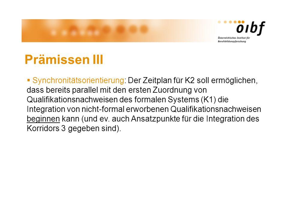 Prämissen III Synchronitätsorientierung: Der Zeitplan für K2 soll ermöglichen, dass bereits parallel mit den ersten Zuordnung von Qualifikationsnachwe