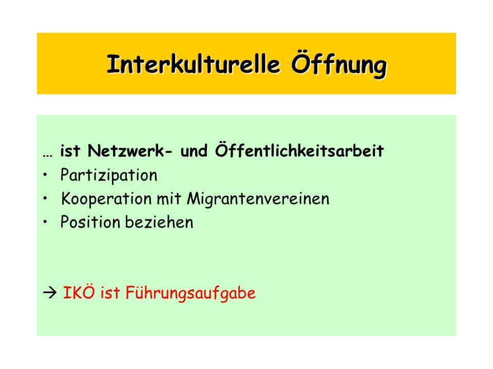 Interkulturelle Öffnung … ist Netzwerk- und Öffentlichkeitsarbeit Partizipation Kooperation mit Migrantenvereinen Position beziehen IKÖ ist Führungsau