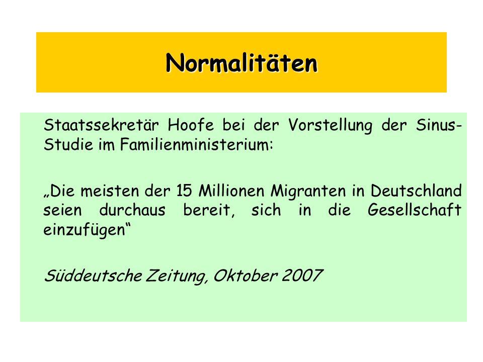Normalitäten Staatssekretär Hoofe bei der Vorstellung der Sinus- Studie im Familienministerium: Die meisten der 15 Millionen Migranten in Deutschland