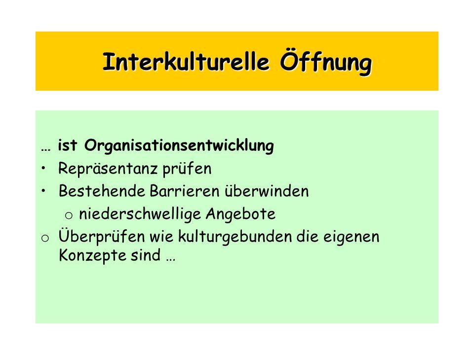 Interkulturelle Öffnung … ist Organisationsentwicklung Repräsentanz prüfen Bestehende Barrieren überwinden o niederschwellige Angebote o Überprüfen wi
