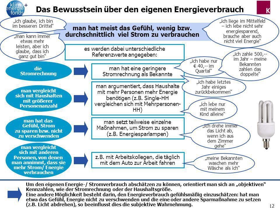 12 Das Bewusstsein über den eigenen Energieverbrauch es werden dabei unterschiedliche Referenzwerte angegeben: die Stromrechnung man hat eine geringer