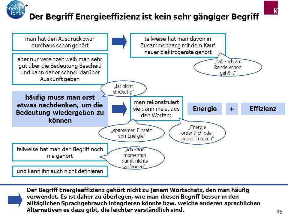 45 Der Begriff Energieeffizienz ist kein sehr gängiger Begriff man hat den Ausdruck zwar durchaus schon gehört Energie+Effizienz teilweise hat man den
