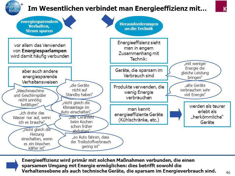 46 Im Wesentlichen verbindet man Energieeffizienz mit… energiesparendem Verhalten, Strom sparen Produkte verwenden, die wenig Energie verbrauchen Ener
