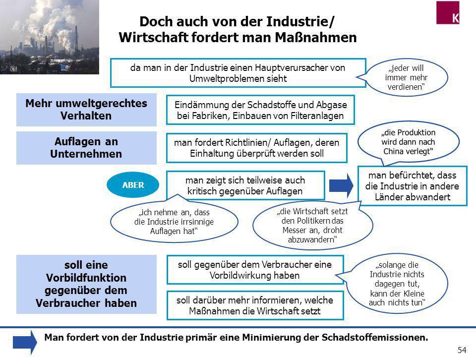 54 Doch auch von der Industrie/ Wirtschaft fordert man Maßnahmen man fordert Richtlinien/ Auflagen, deren Einhaltung überprüft werden soll man zeigt s