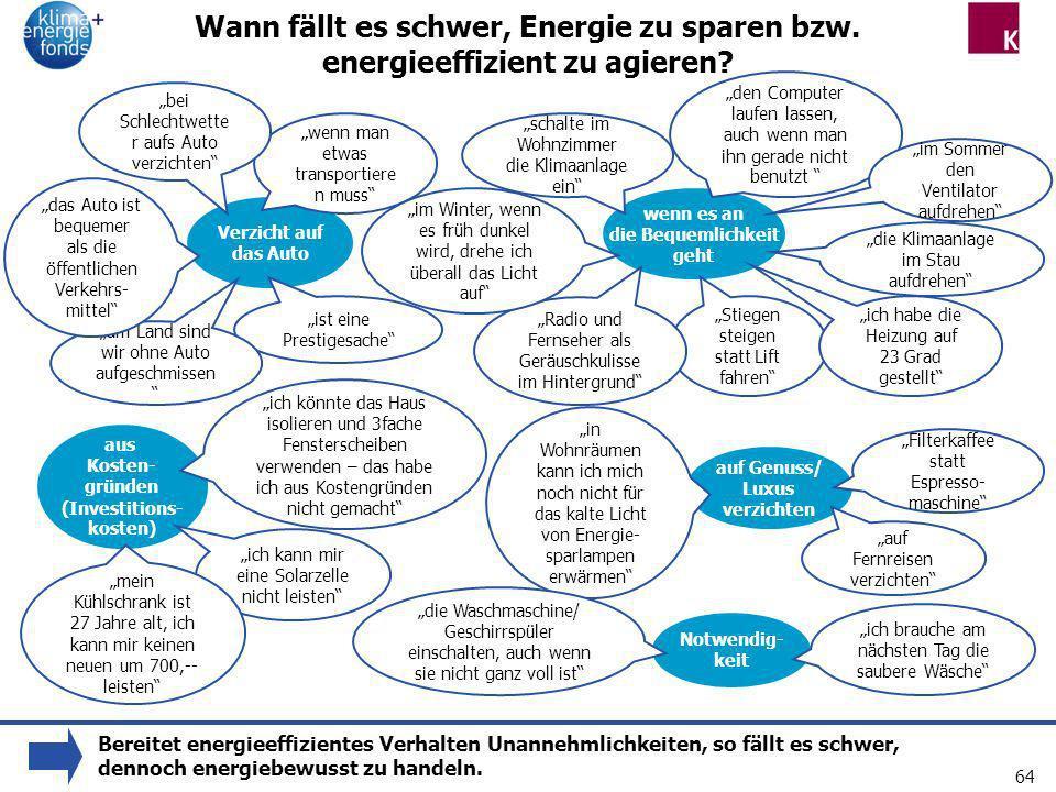 64 Wann fällt es schwer, Energie zu sparen bzw. energieeffizient zu agieren? Verzicht auf das Auto wenn es an die Bequemlichkeit geht Stiegen steigen