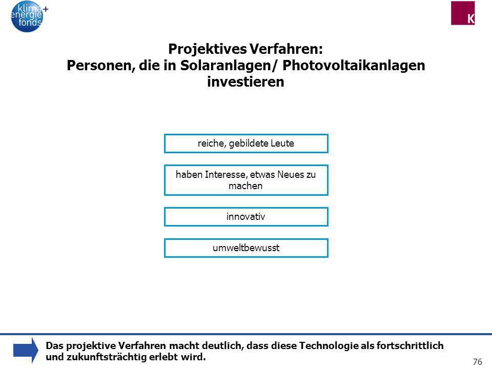 76 Projektives Verfahren: Personen, die in Solaranlagen/ Photovoltaikanlagen investieren reiche, gebildete Leute haben Interesse, etwas Neues zu mache