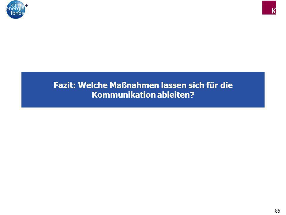 85 Fazit: Welche Maßnahmen lassen sich für die Kommunikation ableiten?