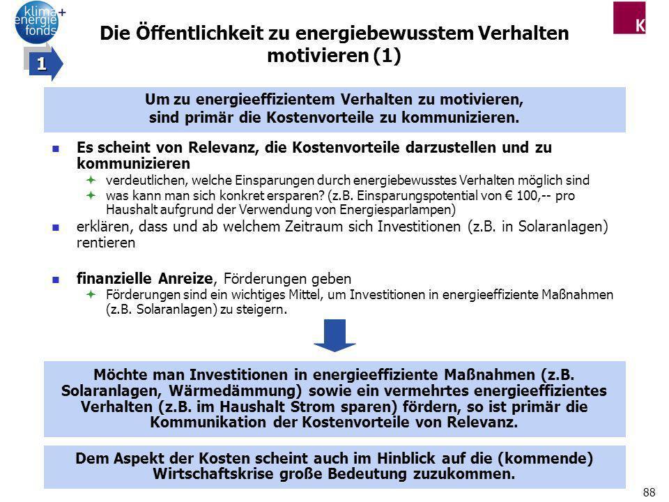 88 Die Öffentlichkeit zu energiebewusstem Verhalten motivieren (1) Es scheint von Relevanz, die Kostenvorteile darzustellen und zu kommunizieren verde