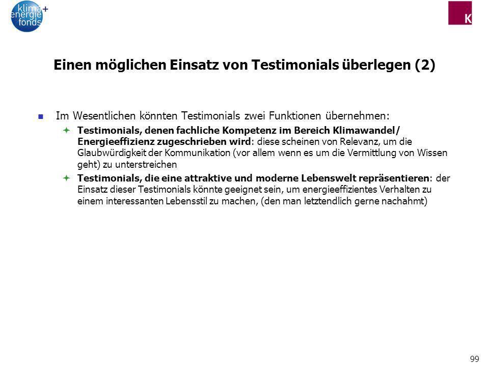 99 Einen möglichen Einsatz von Testimonials überlegen (2) Im Wesentlichen könnten Testimonials zwei Funktionen übernehmen: Testimonials, denen fachlic