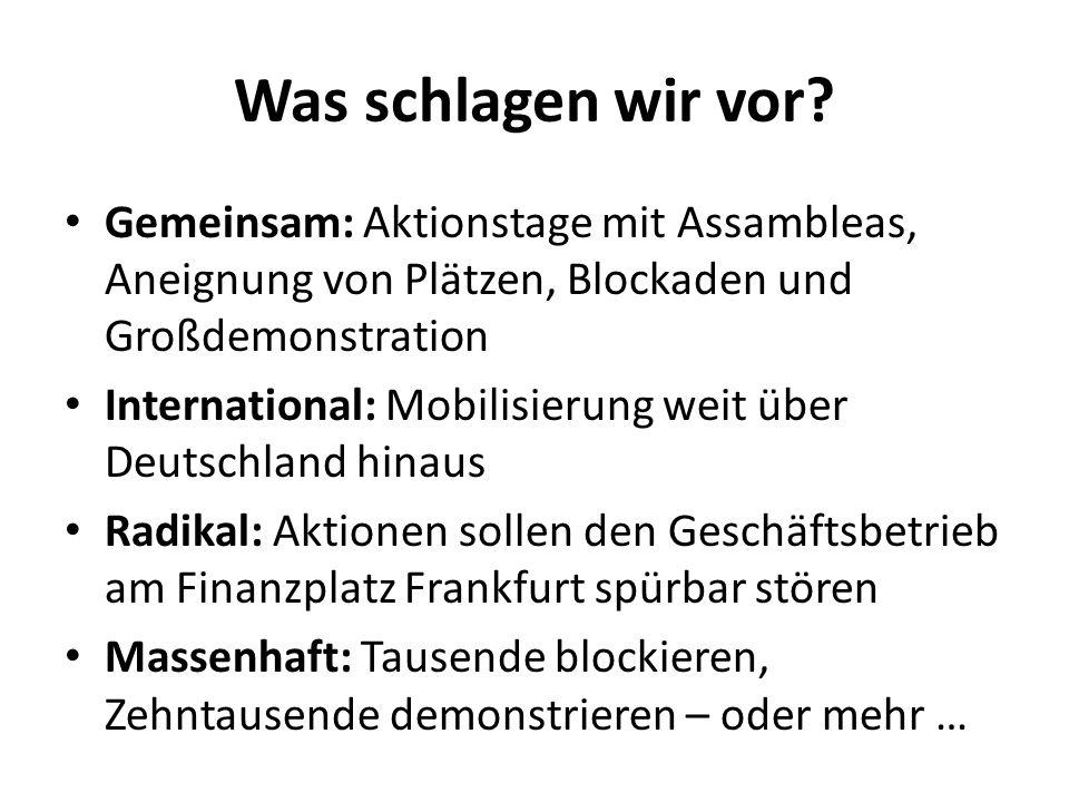 Was schlagen wir vor? Gemeinsam: Aktionstage mit Assambleas, Aneignung von Plätzen, Blockaden und Großdemonstration International: Mobilisierung weit
