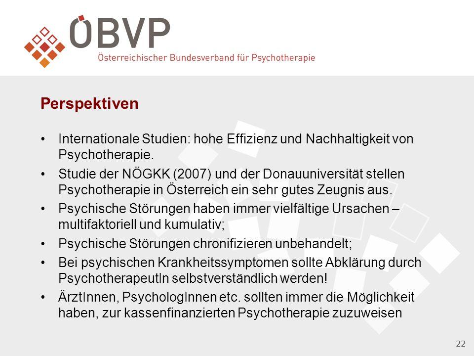 22 Perspektiven Internationale Studien: hohe Effizienz und Nachhaltigkeit von Psychotherapie.