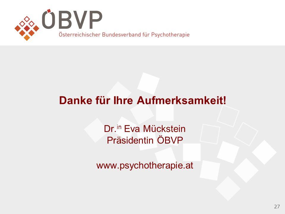 Danke für Ihre Aufmerksamkeit! Dr. in Eva Mückstein Präsidentin ÖBVP www.psychotherapie.at 27