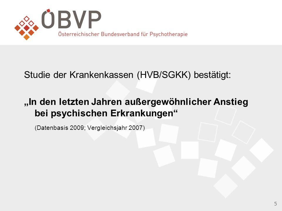 Studie der Krankenkassen (HVB/SGKK) bestätigt: In den letzten Jahren außergewöhnlicher Anstieg bei psychischen Erkrankungen (Datenbasis 2009; Vergleichsjahr 2007) 5