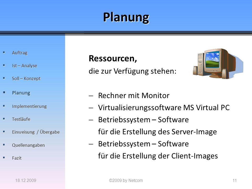 Planung Ressourcen, die zur Verfügung stehen: Rechner mit Monitor Virtualisierungssoftware MS Virtual PC Betriebssystem – Software für die Erstellung