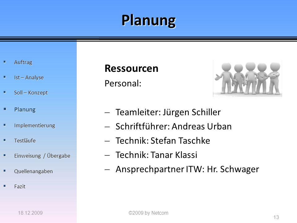 Planung Ressourcen Personal: Teamleiter: Jürgen Schiller Schriftführer: Andreas Urban Technik: Stefan Taschke Technik: Tanar Klassi Ansprechpartner IT