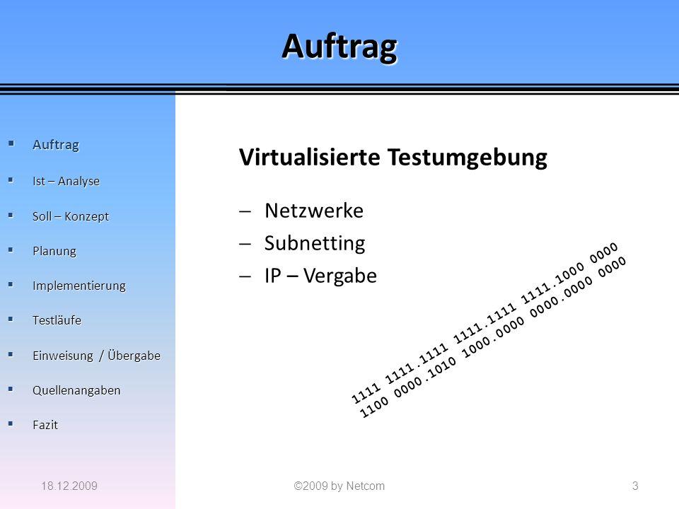 Auftrag Virtualisierte Testumgebung Netzwerke Subnetting IP – Vergabe 18.12.2009©2009 by Netcom3 Auftrag Auftrag Ist – Analyse Ist – Analyse Soll – Ko