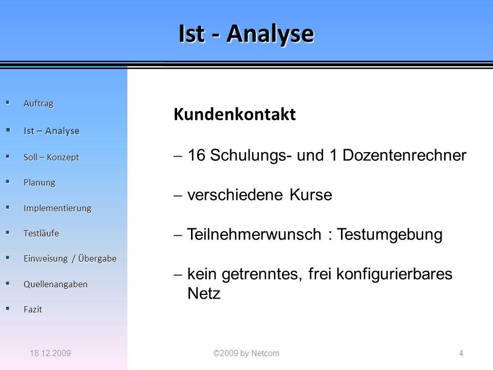 Ist - Analyse 18.12.2009©2009 by Netcom4 Auftrag Auftrag Ist – Analyse Ist – Analyse Soll – Konzept Soll – Konzept Planung Planung Implementierung Imp