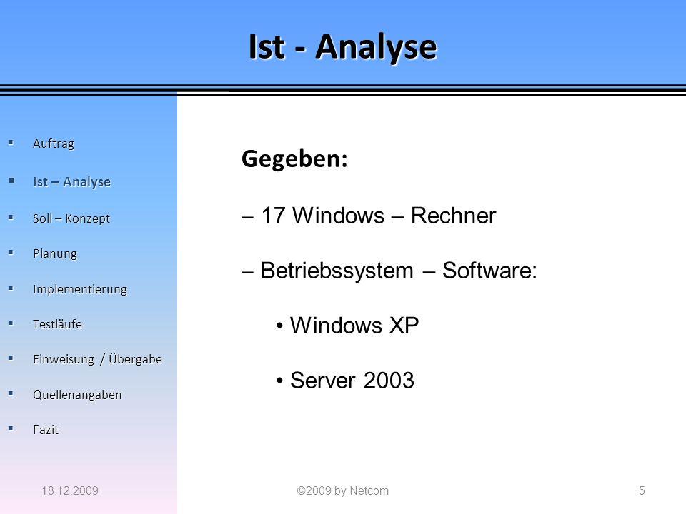 Ist - Analyse 18.12.2009©2009 by Netcom5 Auftrag Auftrag Ist – Analyse Ist – Analyse Soll – Konzept Soll – Konzept Planung Planung Implementierung Imp