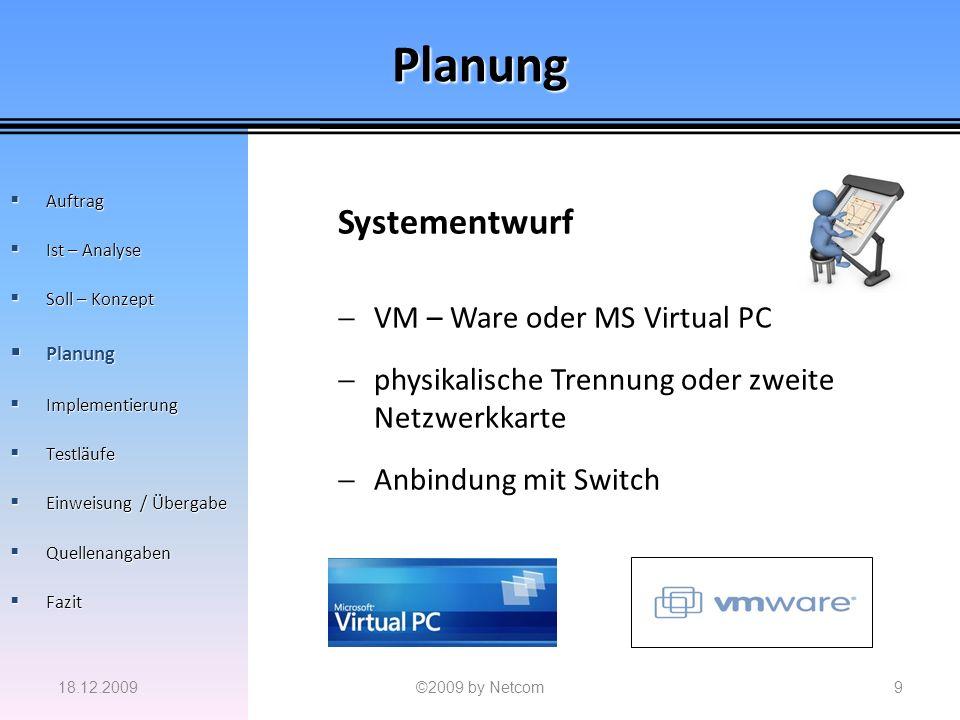 Planung Systementwurf VM – Ware oder MS Virtual PC physikalische Trennung oder zweite Netzwerkkarte Anbindung mit Switch 18.12.2009©2009 by Netcom9 Au
