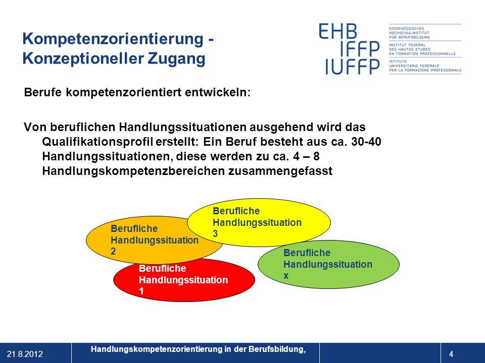 21.8.2012 5 1 Das Qualifikationsprofil – das tabellarische Berufsbild Handlungskompetenzorientierung in der Berufsbildung,