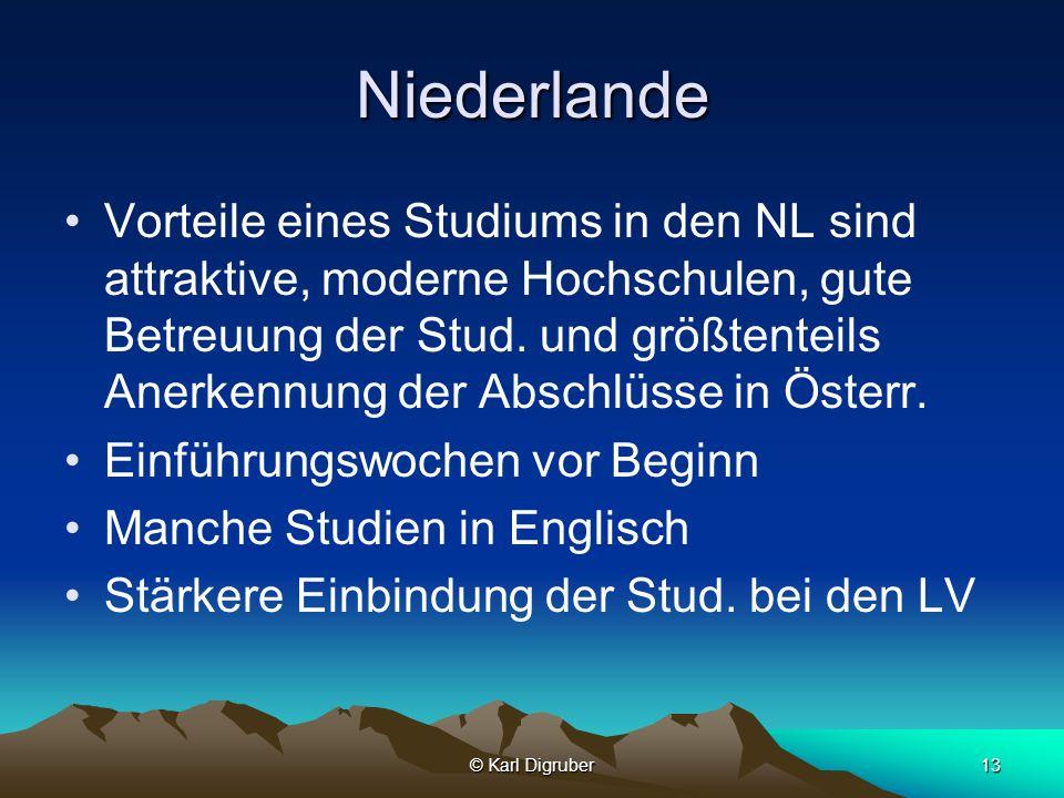 © Karl Digruber13 Niederlande Vorteile eines Studiums in den NL sind attraktive, moderne Hochschulen, gute Betreuung der Stud. und größtenteils Anerke