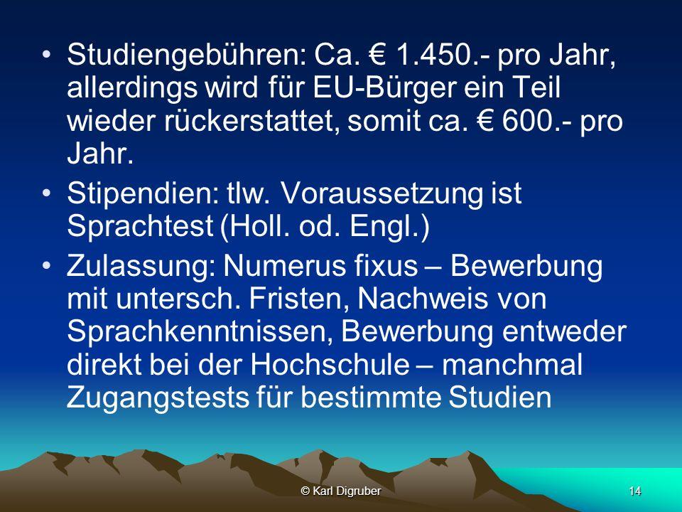 © Karl Digruber14 Studiengebühren: Ca. 1.450.- pro Jahr, allerdings wird für EU-Bürger ein Teil wieder rückerstattet, somit ca. 600.- pro Jahr. Stipen