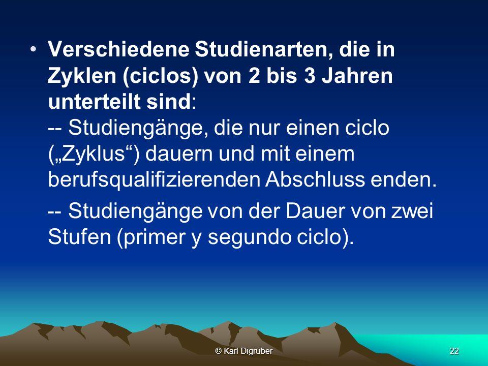 © Karl Digruber22 Verschiedene Studienarten, die in Zyklen (ciclos) von 2 bis 3 Jahren unterteilt sind: -- Studiengänge, die nur einen ciclo (Zyklus)