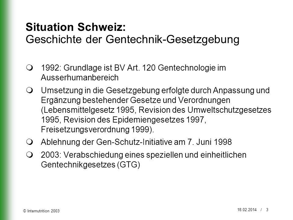 © Internutrition 2003 18.02.2014 / 3 Situation Schweiz: Geschichte der Gentechnik-Gesetzgebung 1992: Grundlage ist BV Art. 120 Gentechnologie im Ausse