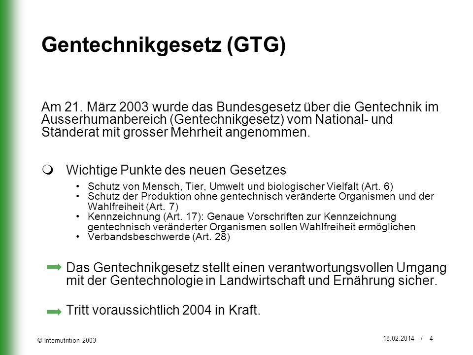 © Internutrition 2003 18.02.2014 / 4 Gentechnikgesetz (GTG) Am 21. März 2003 wurde das Bundesgesetz über die Gentechnik im Ausserhumanbereich (Gentech