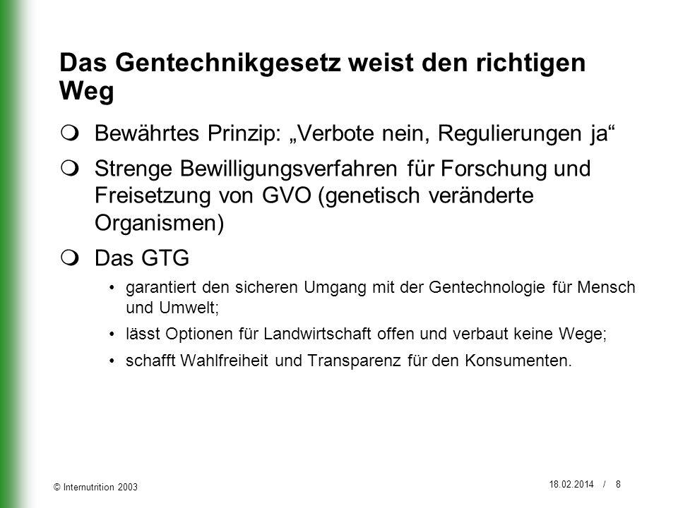© Internutrition 2003 18.02.2014 / 8 Das Gentechnikgesetz weist den richtigen Weg Bewährtes Prinzip: Verbote nein, Regulierungen ja Strenge Bewilligun