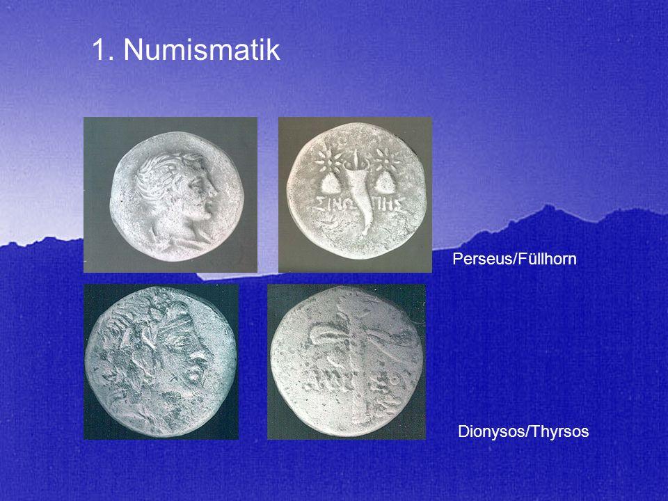 Perseus/Füllhorn Dionysos/Thyrsos 1. Numismatik