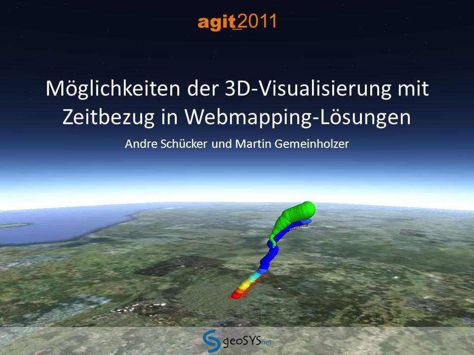 12Möglichkeiten der 3D-Visualisierung mit Zeitbezug in Webmapping-Lösungen07.07.2011 Beispiel Thematische Kartographie - KML und Freemarker Templates im Geoserver - Einschränkungen: keine Einbindung von COLLADA Modellen Redundanzen: für jeden Zeitpunkt muss ein Geoobjekt gespeichert werden keine Interpolation von Zwischenwerten zur stufenlosen zeitlichen Animation