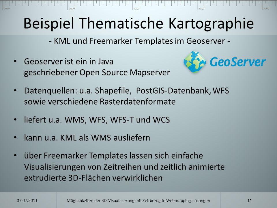 Beispiel Thematische Kartographie Geoserver ist ein in Java geschriebener Open Source Mapserver Datenquellen: u.a. Shapefile, PostGIS-Datenbank, WFS s
