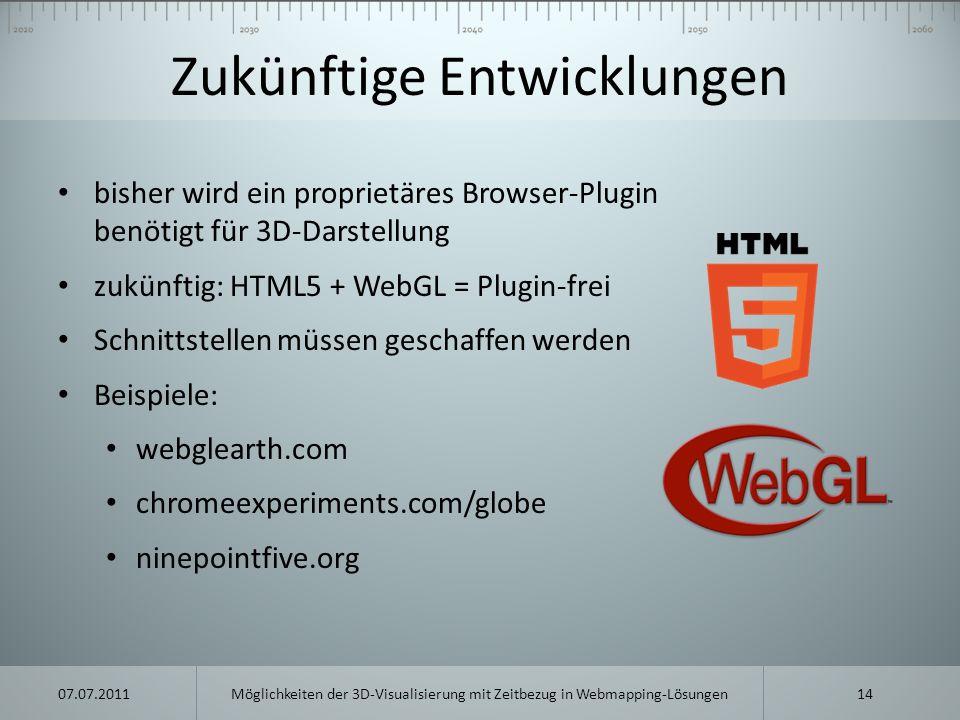 Zukünftige Entwicklungen bisher wird ein proprietäres Browser-Plugin benötigt für 3D-Darstellung zukünftig: HTML5 + WebGL = Plugin-frei Schnittstellen
