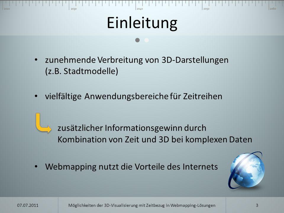 Zukünftige Entwicklungen bisher wird ein proprietäres Browser-Plugin benötigt für 3D-Darstellung zukünftig: HTML5 + WebGL = Plugin-frei Schnittstellen müssen geschaffen werden Beispiele: webglearth.com chromeexperiments.com/globe ninepointfive.org 14Möglichkeiten der 3D-Visualisierung mit Zeitbezug in Webmapping-Lösungen07.07.2011