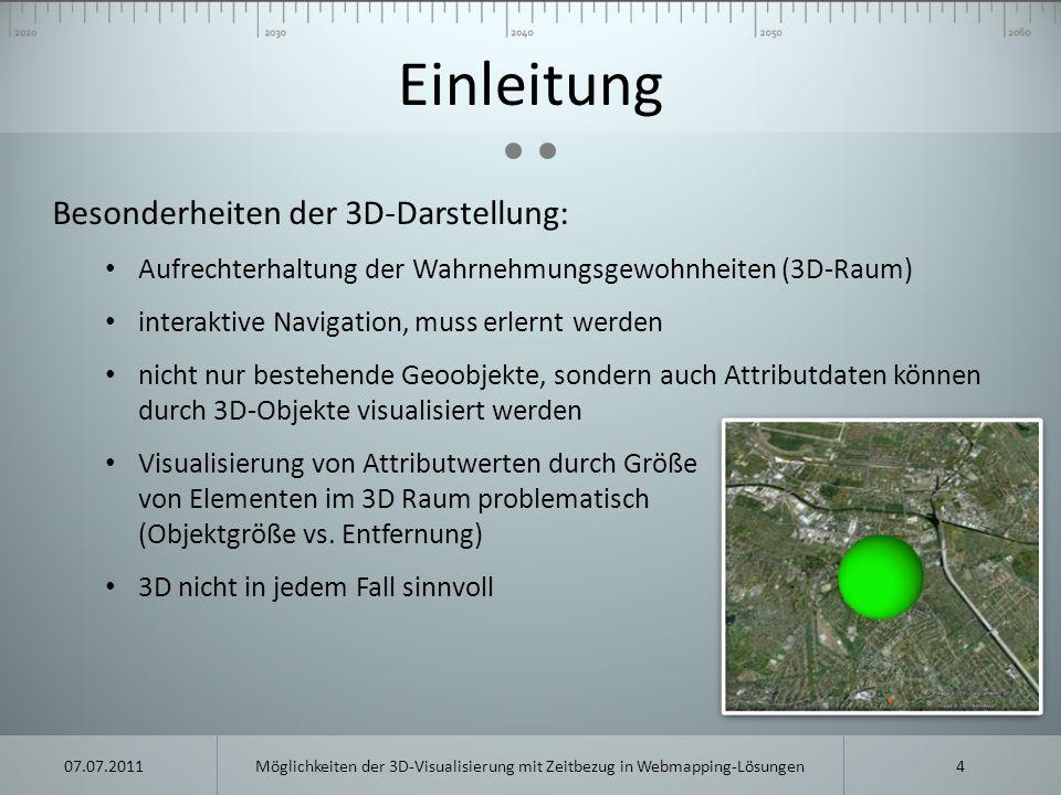 Einleitung Besonderheiten der 3D-Darstellung: Aufrechterhaltung der Wahrnehmungsgewohnheiten (3D-Raum) interaktive Navigation, muss erlernt werden nic