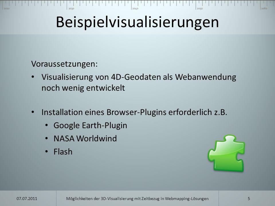 Beispielvisualisierungen Voraussetzungen: Visualisierung von 4D-Geodaten als Webanwendung noch wenig entwickelt Installation eines Browser-Plugins erf