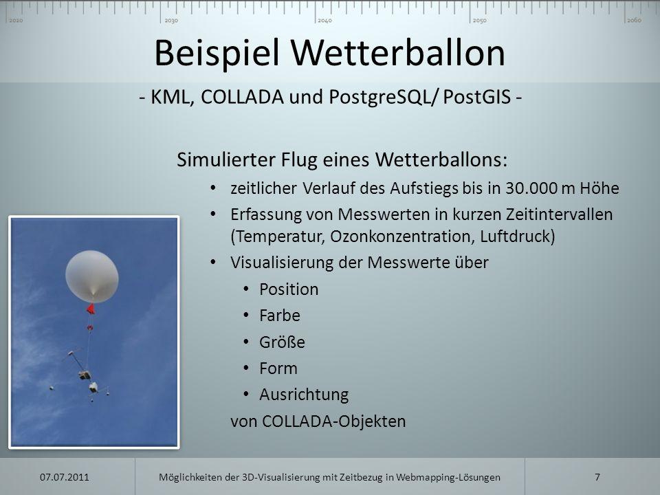 Beispiel Wetterballon Simulierter Flug eines Wetterballons: zeitlicher Verlauf des Aufstiegs bis in 30.000 m Höhe Erfassung von Messwerten in kurzen Z