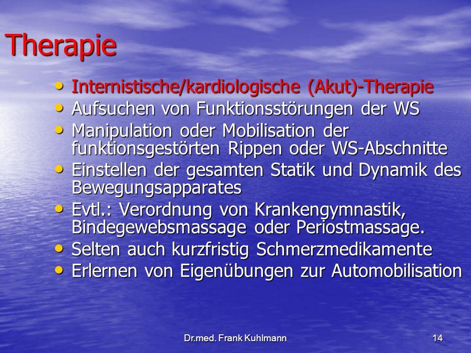 Dr.med. Frank Kuhlmann14 Therapie Internistische/kardiologische (Akut)-Therapie Internistische/kardiologische (Akut)-Therapie Aufsuchen von Funktionss