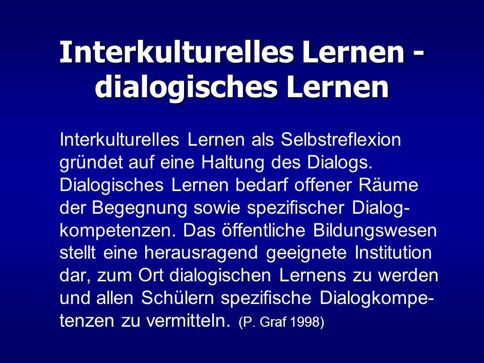 Interkulturelles Lernen - dialogisches Lernen Interkulturelles Lernen als Selbstreflexion gründet auf eine Haltung des Dialogs. Dialogisches Lernen be