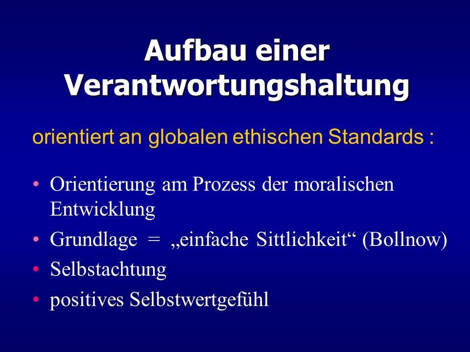 Aufbau einer Verantwortungshaltung orientiert an globalen ethischen Standards : Orientierung am Prozess der moralischen Entwicklung Grundlage = einfac